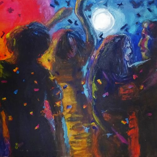 stars of the nightlife, 36 x 24 inch, anjana bora,36x24inch,canvas,paintings,abstract paintings,figurative paintings,cityscape paintings,modern art paintings,art deco paintings,paintings for dining room,paintings for living room,paintings for bedroom,paintings for office,paintings for hotel,acrylic color,GAL02226234429