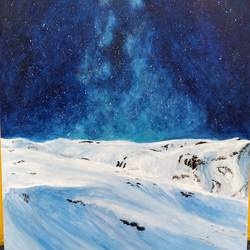 snow & starry night, 24 x 36 inch, anjana bora,24x36inch,canvas,paintings,landscape paintings,nature paintings | scenery paintings,paintings for dining room,paintings for living room,paintings for bedroom,paintings for office,paintings for bathroom,paintings for kids room,paintings for hotel,paintings for school,paintings for hospital,acrylic color,GAL02226234430