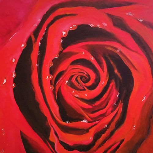 water droplets on red rose, 36 x 24 inch, anjana bora,36x24inch,canvas,paintings,flower paintings,modern art paintings,nature paintings | scenery paintings,paintings for dining room,paintings for living room,paintings for bedroom,paintings for office,paintings for bathroom,paintings for kids room,paintings for hotel,paintings for kitchen,paintings for school,paintings for hospital,acrylic color,GAL02226234431