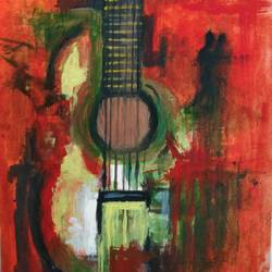 healing guitar, 6 x 8 inch, anjana bora,6x8inch,thick paper,paintings,paintings for dining room,paintings for living room,paintings for bedroom,paintings for office,paintings for bathroom,paintings for kids room,paintings for hotel,paintings for kitchen,paintings for school,paintings for hospital,acrylic color,GAL02226234435