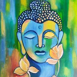 peace bhudha, 18 x 24 inch, sweta jain,18x24inch,canvas board,paintings,buddha paintings,paintings for dining room,paintings for living room,paintings for office,paintings for hotel,oil color,GAL02163934436