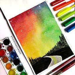 galaxy watercolour painting, 6 x 8 inch, shraddha goyal,6x8inch,brustro watercolor paper,paintings,abstract paintings,landscape paintings,nature paintings | scenery paintings,illustration paintings,watercolor,paper,GAL02146134443