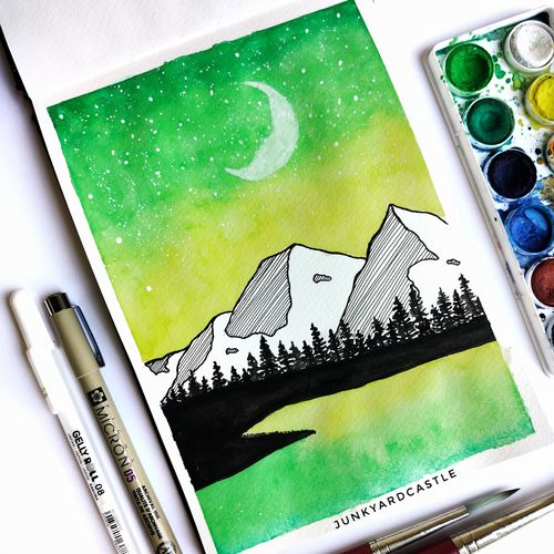 mountain watercolour painting, 6 x 8 inch, shraddha goyal,6x8inch,brustro watercolor paper,paintings,abstract paintings,landscape paintings,illustration paintings,water fountain paintings,watercolor,paper,GAL02146134444