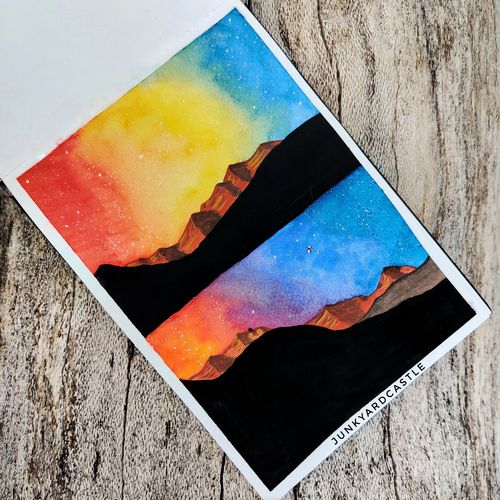 galaxy mountain watercolour painting, 6 x 8 inch, shraddha goyal,6x8inch,brustro watercolor paper,paintings,abstract paintings,landscape paintings,nature paintings | scenery paintings,illustration paintings,watercolor,paper,GAL02146134445