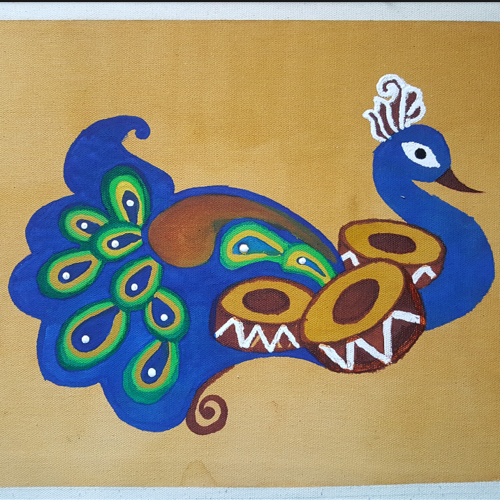 peacock painting, 16 x 12 inch, praneetha rao,16x12inch,canvas,paintings,wildlife paintings,art deco paintings,paintings for dining room,paintings for living room,paintings for bedroom,paintings for office,paintings for hotel,paintings for school,paintings for hospital,paintings for living room,paintings for office,watercolor,GAL02162934450