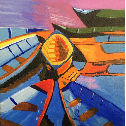 boats, 10 x 12 inch, chhaya singh,10x12inch,canvas,paintings,cityscape paintings,landscape paintings,paintings for living room,paintings for bedroom,paintings for office,acrylic color,GAL02256234453
