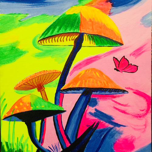 vibrant mushrooms, 10 x 12 inch, chhaya singh,10x12inch,canvas,paintings,nature paintings | scenery paintings,paintings for dining room,paintings for bedroom,paintings for office,paintings for hotel,acrylic color,GAL02256234458