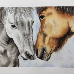 the horse couple, 11 x 8 inch, surabhi g,11x8inch,brustro watercolor paper,paintings,wildlife paintings,still life paintings,nature paintings | scenery paintings,realism paintings,realistic paintings,love paintings,horse paintings,paintings for dining room,paintings for living room,paintings for bedroom,paintings for office,paintings for bathroom,paintings for kids room,paintings for hotel,paintings for kitchen,paintings for school,paintings for hospital,watercolor,paper,GAL02240634462