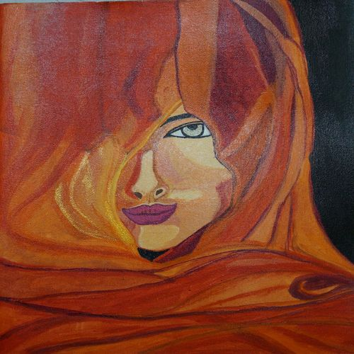 lady in veil, 12 x 16 inch, shweta singh,photorealism,paintings for living room,figurative paintings,modern art paintings,canvas,acrylic color,12x16inch,GAL012423447