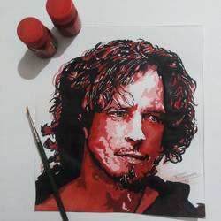 musican (chris cornell), 7 x 8 inch, vikas bahuguna,7x8inch,paper,paintings,portrait paintings,portraiture,realistic paintings,acrylic color,poster color,GAL0372634471