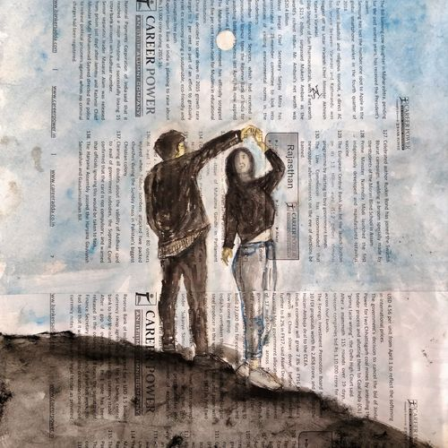 dancing underneath the moonlight, 8 x 10 inch, anjana bora,8x10inch,paper,abstract paintings,figurative paintings,modern art paintings,love paintings,paintings for dining room,paintings for living room,paintings for bedroom,paintings for office,paintings for bathroom,paintings for hotel,paintings for dining room,paintings for living room,paintings for bedroom,paintings for office,paintings for bathroom,paintings for hotel,acrylic color,GAL02226234478