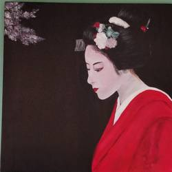 geisha- an artist of the floating world!, 24 x 24 inch, anjana bora,24x24inch,canvas,paintings,abstract paintings,figurative paintings,folk art paintings,modern art paintings,conceptual paintings,portrait paintings,abstract expressionism paintings,art deco paintings,illustration paintings,realism paintings,contemporary paintings,realistic paintings,paintings for dining room,paintings for living room,paintings for bedroom,paintings for office,paintings for bathroom,paintings for kids room,paintings for hotel,paintings for kitchen,paintings for school,paintings for hospital,acrylic color,GAL02226234495