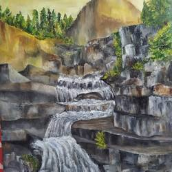 waterfall landscape, 24 x 32 inch, lydia susan abraham ,24x32inch,canvas,landscape paintings,oil color,GAL02259334497