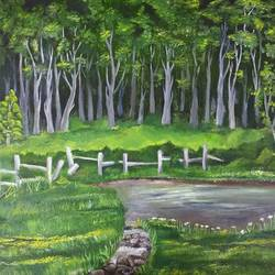 walk through woodland , 20 x 24 inch, lydia susan abraham ,20x24inch,canvas,paintings,landscape paintings,oil color,GAL02259334499