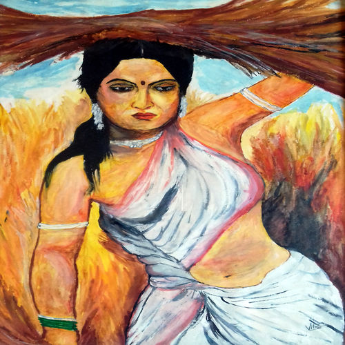 tribal women, 18 x 26 inch, ravi borade,figurative paintings,paintings for living room,canvas,acrylic color,18x26inch,GAL012433450