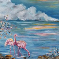flamingo , 12 x 18 inch, lydia susan abraham ,12x18inch,canvas,landscape paintings,nature paintings | scenery paintings,oil color,GAL02259334501