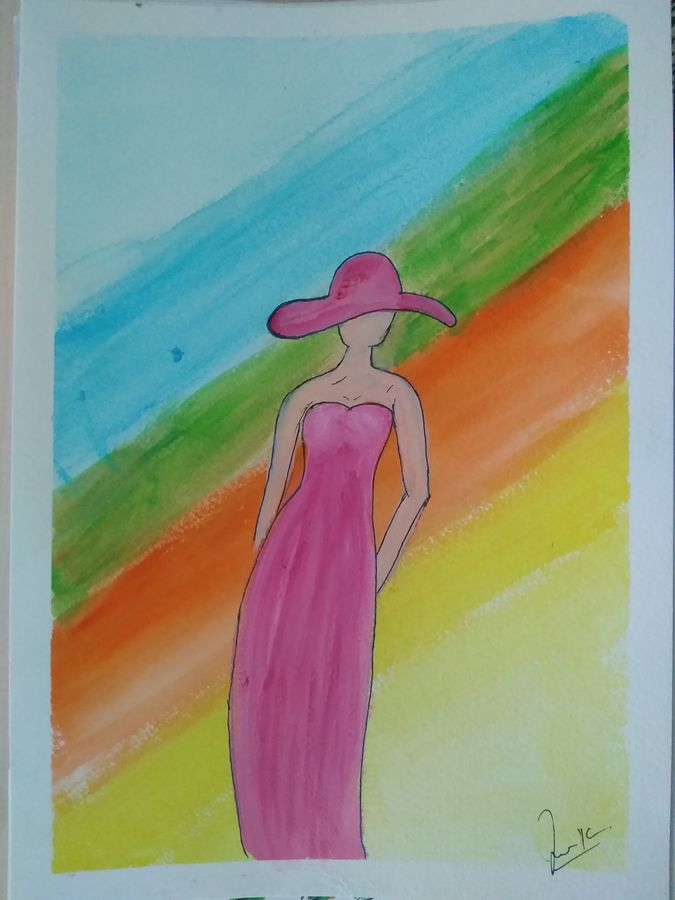 lady with a rainbow, 17 x 23 inch, janak  tank,17x23inch,ivory sheet,paintings,abstract paintings,cityscape paintings,conceptual paintings,paintings for living room,paintings for bathroom,paintings for living room,paintings for bathroom,acrylic color,pastel color,watercolor,GAL02138234502