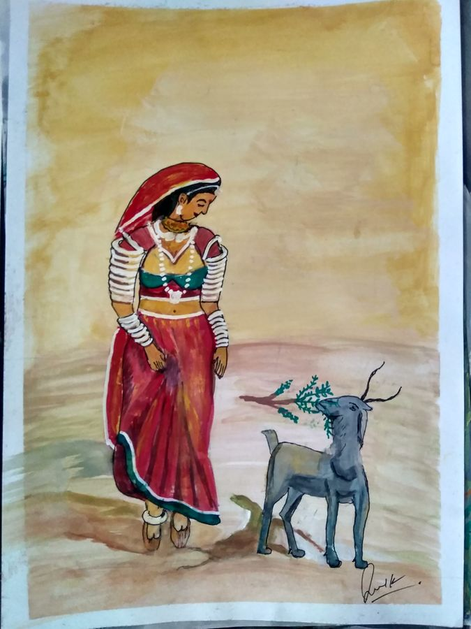village life, 15 x 12 inch, janak  tank,15x12inch,ivory sheet,paintings,figurative paintings,folk art paintings,conceptual paintings,realism paintings,surrealism paintings,animal paintings,paintings for living room,paintings for bathroom,paintings for school,acrylic color,pastel color,poster color,watercolor,ball point pen,GAL02138234506