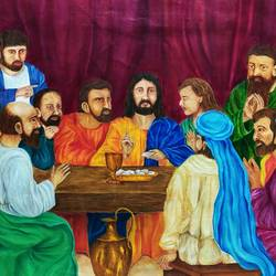 last supper (jesus christ), 48 x 34 inch, lydia susan abraham ,48x34inch,canvas,paintings,religious paintings,oil color,GAL02259334507