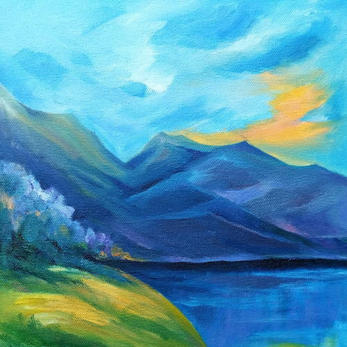 landscape -5, 10 x 12 inch, a.b.  kaser,landscape paintings,paintings for office,nature paintings,vertical,canvas,oil,10x12inch,GAL06363451Nature,environment,Beauty,scenery,greenery