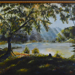 sunlit lake, 36 x 24 inch, anubha baluapuri,36x24inch,canvas,landscape paintings,paintings for dining room,paintings for living room,paintings for bedroom,paintings for office,paintings for hotel,paintings for dining room,paintings for living room,paintings for bedroom,paintings for office,paintings for hotel,acrylic color,GAL02259934515