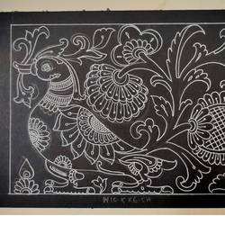 annapparavi with traditional desing in silver pen, 11 x 7 inch, harikrishnan g,11x7inch,thick paper,drawings,fine art drawings,illustration drawings,paintings for hotel,paintings for school,pen color,GAL02232634516