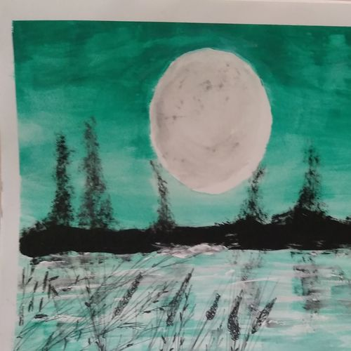 the mid night moon, 15 x 12 inch, janak  tank,15x12inch,ivory sheet,abstract paintings,conceptual paintings,still life paintings,paintings for office,paintings for bathroom,paintings for office,paintings for bathroom,acrylic color,pencil color,poster color,watercolor,GAL02138234517