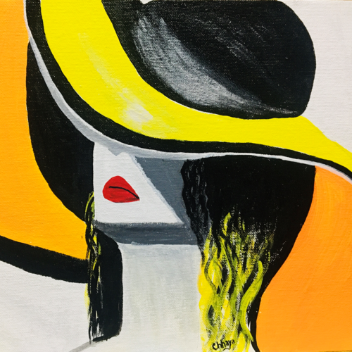 women in hat, 12 x 10 inch, chhaya singh,12x10inch,canvas,paintings,figurative paintings,expressionism paintings,portraiture,paintings for dining room,paintings for living room,paintings for bedroom,paintings for office,acrylic color,GAL02256234519