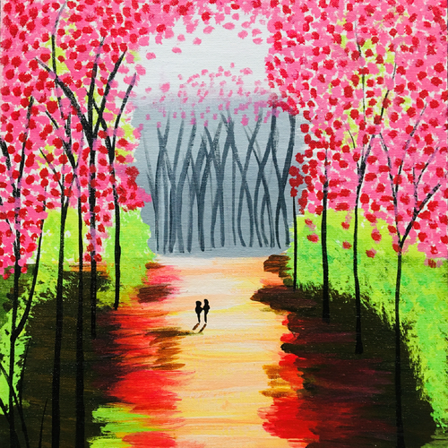 cherry blossoms, 12 x 16 inch, chhaya singh,12x16inch,canvas,paintings,flower paintings,nature paintings | scenery paintings,paintings for living room,paintings for bedroom,acrylic color,GAL02256234521