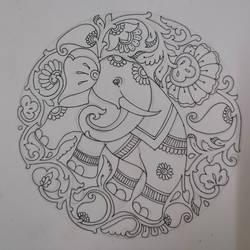 elephant with tradition in a circle, 7 x 8 inch, harikrishnan g,7x8inch,thick paper,drawings,art deco drawings,fine art drawings,illustration drawings,paintings for office,paintings for kids room,paintings for hotel,paintings for school,pen color,GAL02232634523