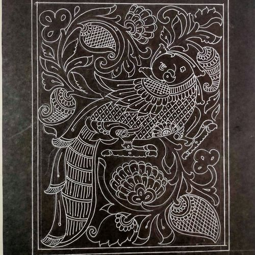 reverse faced parrot with fine traditional drawing, 11 x 14 inch, harikrishnan g,11x14inch,thick paper,drawings,art deco drawings,fine art drawings,paintings for office,paintings for hotel,paintings for school,pen color,GAL02232634524