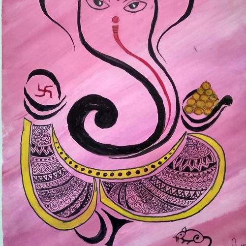 lord ganesha, 23 x 16 inch, janak  tank,23x16inch,ivory sheet,paintings,abstract paintings,ganesha paintings | lord ganesh paintings,paintings for dining room,paintings for bedroom,paintings for office,paintings for hotel,paintings for school,paintings for dining room,paintings for bedroom,paintings for office,paintings for hotel,paintings for school,acrylic color,poster color,watercolor,GAL02138234525