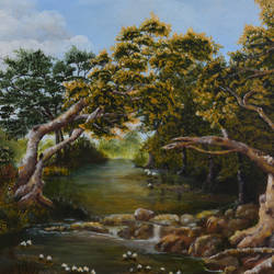 forest stream, 30 x 24 inch, anubha baluapuri,30x24inch,canvas,paintings,landscape paintings,acrylic color,GAL02259934526