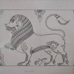 yazhi - ancient lion roaring, 16 x 10 inch, harikrishnan g,16x10inch,thick paper,drawings,art deco drawings,fine art drawings,paintings for living room,paintings for office,paintings for hotel,paintings for school,pen color,GAL02232634532