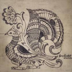 peacock with fine art tail in cloth, 23 x 21 inch, harikrishnan g,23x21inch,cloth,paintings,kalamkari painting,paintings for living room,paintings for bedroom,paintings for office,paintings for hotel,natural color,GAL02232634539