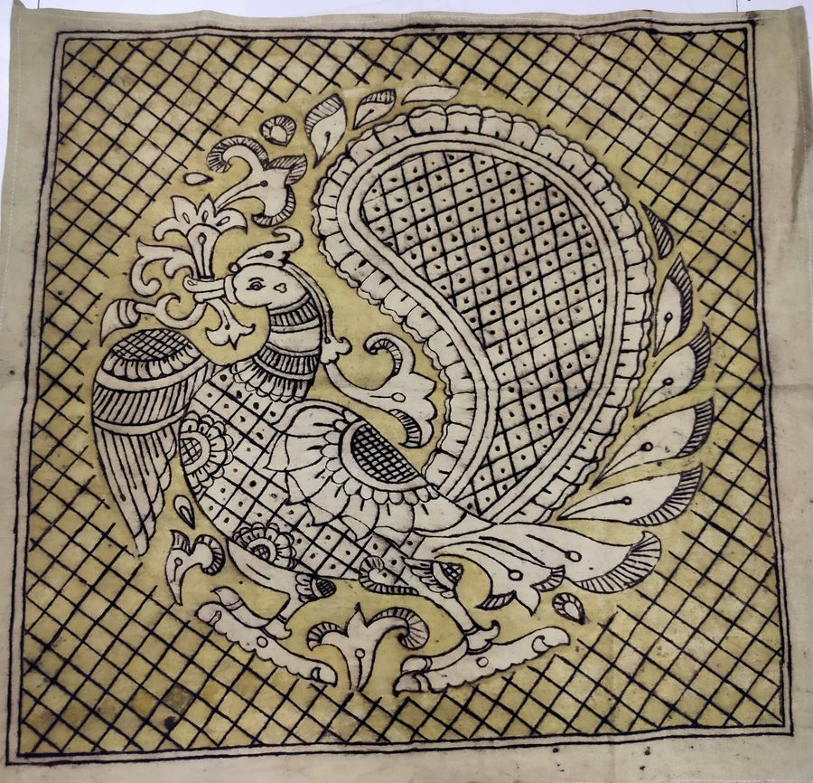annapparavai with traditioanl arts, 20 x 19 inch, harikrishnan g,20x19inch,cloth,paintings,kalamkari painting,paintings for dining room,paintings for living room,paintings for office,paintings for hotel,paintings for school,natural color,GAL02232634541