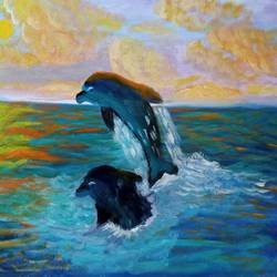 dolphins frolicking in the ocean at sunset, 16 x 12 inch, reema pereira,16x12inch,canvas,paintings,wildlife paintings,paintings for dining room,paintings for living room,paintings for bedroom,acrylic color,oil color,GAL02172034546