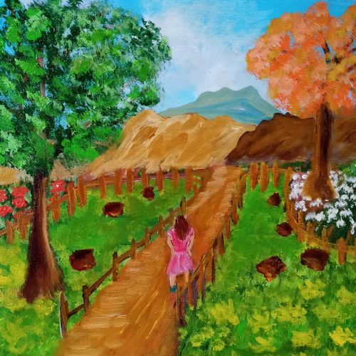 girl walking down a pathway, 16 x 12 inch, reema pereira,16x12inch,canvas,paintings,conceptual paintings,nature paintings | scenery paintings,paintings for dining room,paintings for living room,paintings for bedroom,acrylic color,oil color,GAL02172034547