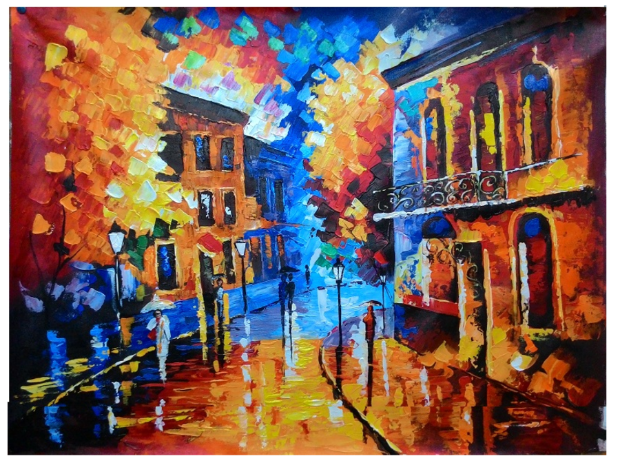 landscape hand painted knife art, 36 x 24 inch, varun bokolia,conceptual paintings,paintings for living room,landscape paintings,nature paintings,canvas,acrylic color,36x24inch,GAL012443455Nature,environment,Beauty,scenery,greenery