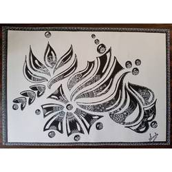 floral doodle, 14 x 11 inch, sonali gaitonde,14x11inch,drawing paper,drawings,abstract drawings,art deco drawings,paintings for dining room,paintings for living room,paintings for bedroom,paintings for office,paintings for hotel,pen color,poster color,GAL02260634556