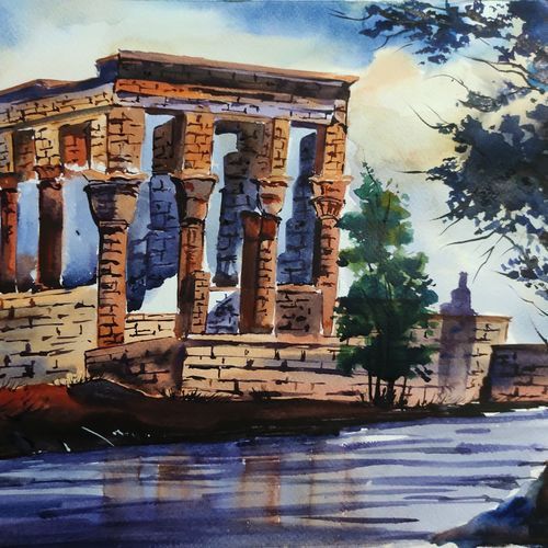 old philae temple, egypt, 11 x 16 inch, shankhadeep  mondal,11x16inch,brustro watercolor paper,paintings,landscape paintings,paintings for dining room,paintings for living room,paintings for bedroom,paintings for office,paintings for kids room,paintings for hotel,paintings for kitchen,paintings for school,paintings for hospital,watercolor,GAL01403034568