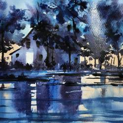 river side house, 11 x 8 inch, shankhadeep  mondal,11x8inch,brustro watercolor paper,paintings,landscape paintings,nature paintings | scenery paintings,paintings for dining room,paintings for living room,paintings for bedroom,paintings for office,paintings for kids room,paintings for hotel,paintings for kitchen,paintings for school,paintings for hospital,watercolor,GAL01403034570
