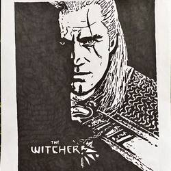 the witcher, 8 x 12 inch, kiran kishore,8x12inch,drawing paper,paintings,portrait paintings,paintings for kids room,pen color,ball point pen,paper,GAL02263334573