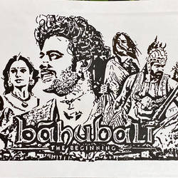 bahubali, 12 x 8 inch, kiran kishore,12x8inch,drawing paper,paintings,portrait paintings,paintings for living room,paintings for bedroom,paintings for kids room,pen color,ball point pen,paper,GAL02263334574