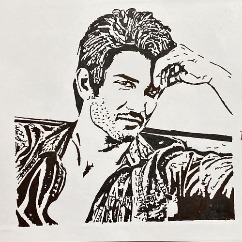 sushant singh rajput, 12 x 8 inch, kiran kishore,12x8inch,drawing paper,drawings,portrait drawings,paintings for dining room,paintings for living room,paintings for bedroom,paintings for office,paintings for kids room,pen color,ball point pen,paper,GAL02263334576