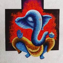 ganesha-3, 40 x 36 inch, kirtiraj mhatre,40x36inch,canvas,paintings,figurative paintings,modern art paintings,art deco paintings,ganesha paintings | lord ganesh paintings,paintings for dining room,paintings for living room,paintings for bedroom,paintings for office,paintings for kids room,paintings for hotel,paintings for kitchen,paintings for school,paintings for hospital,acrylic color,GAL0168134579