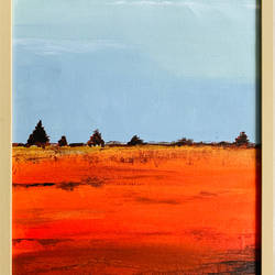 orange horizon, 13 x 16 inch, haritha reddy,13x16inch,canvas,paintings,landscape paintings,acrylic color,GAL02222134583