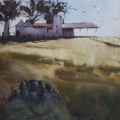 farm house in my village, 17 x 12 inch, anand sreenivasan,17x12inch,handmade paper,paintings,cityscape paintings,landscape paintings,nature paintings | scenery paintings,expressionism paintings,illustration paintings,impressionist paintings,minimalist paintings,realism paintings,contemporary paintings,realistic paintings,paintings for dining room,paintings for living room,paintings for bedroom,paintings for office,paintings for bathroom,paintings for kids room,paintings for hotel,paintings for kitchen,paintings for school,paintings for hospital,watercolor,GAL02264534589