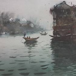 boatman on chinese riverside, 21 x 17 inch, anand sreenivasan,21x17inch,handmade paper,paintings,cityscape paintings,landscape paintings,nature paintings | scenery paintings,expressionism paintings,illustration paintings,impressionist paintings,realism paintings,contemporary paintings,realistic paintings,paintings for dining room,paintings for living room,paintings for bedroom,paintings for office,paintings for bathroom,paintings for kids room,paintings for hotel,paintings for kitchen,paintings for school,paintings for hospital,watercolor,GAL02264534590