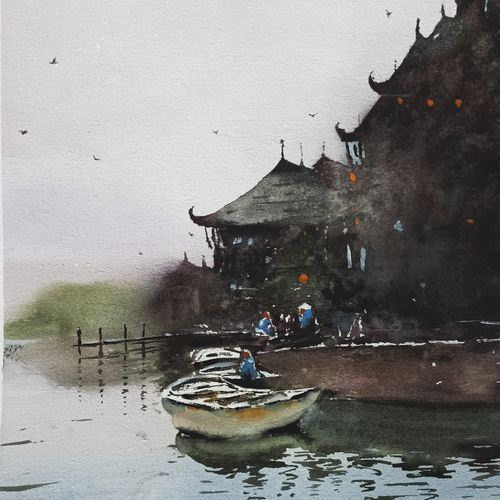 chinese pier , 17 x 21 inch, anand sreenivasan,17x21inch,handmade paper,paintings,cityscape paintings,landscape paintings,nature paintings | scenery paintings,expressionism paintings,illustration paintings,impressionist paintings,minimalist paintings,realism paintings,contemporary paintings,realistic paintings,paintings for dining room,paintings for living room,paintings for bedroom,paintings for office,paintings for bathroom,paintings for kids room,paintings for hotel,paintings for kitchen,paintings for school,paintings for hospital,watercolor,GAL02264534592